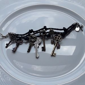 Boho Braided Charm Key Toggle Bracelet